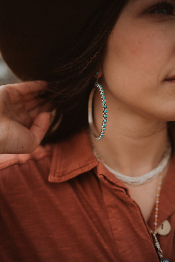 Lyric Hoops | Small Turquoise Dot