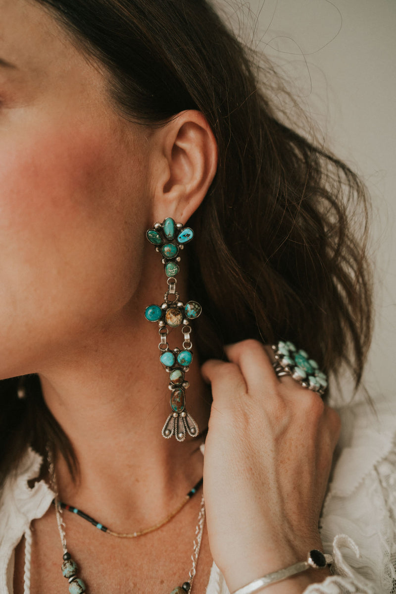 Jaqueline Earrings | Turquoise Chandelier