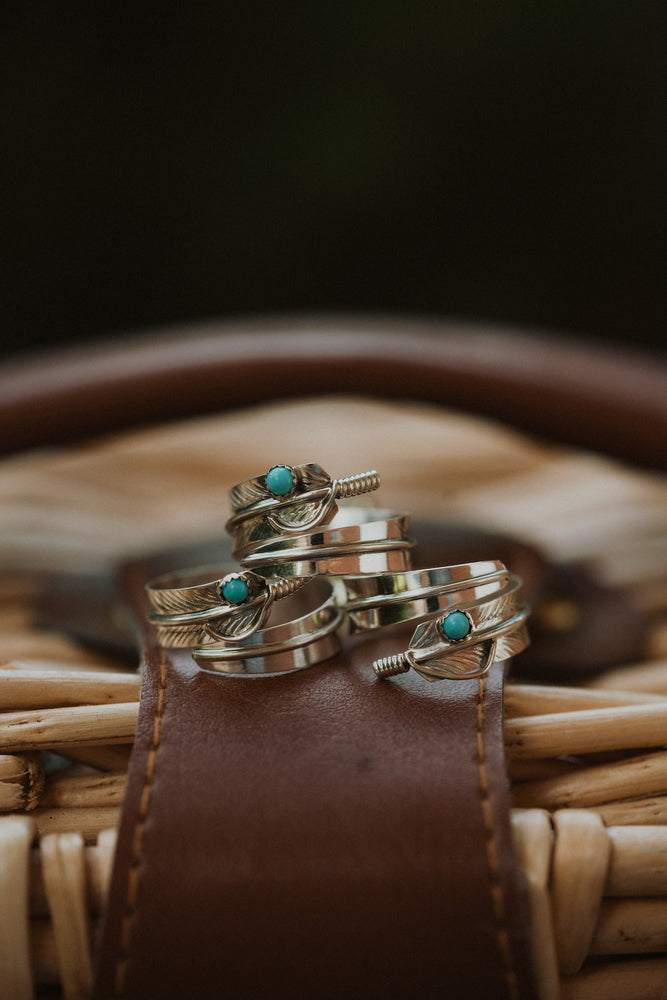 Adjustable Feather Ring | Turquoise