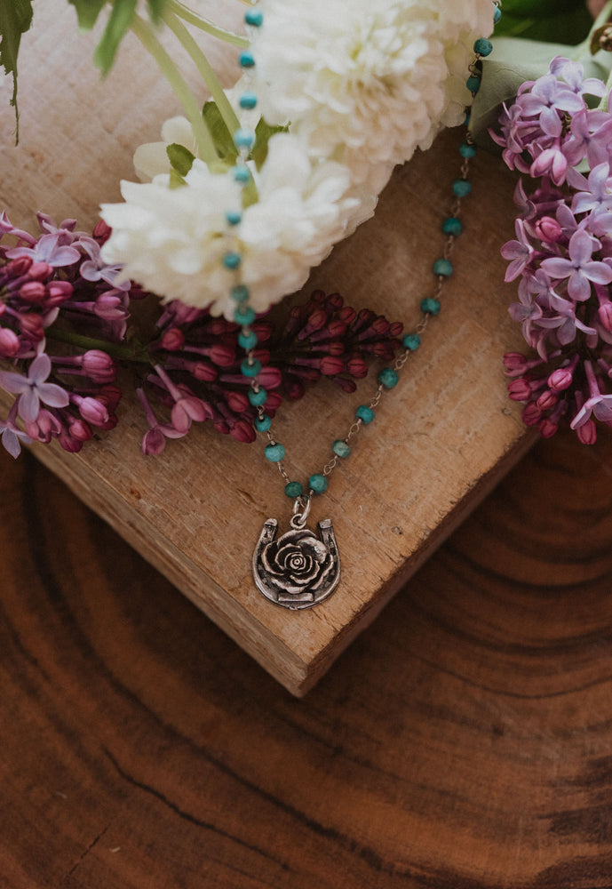 Rose and Horseshoe Charm | Sterling Chain