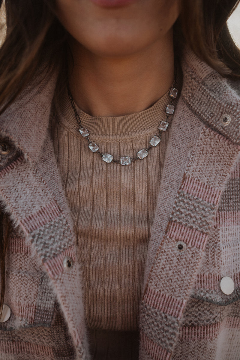 Crystal Necklace | Silver Detail