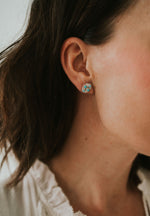 Small Diamond Zuni Turquoise Earring