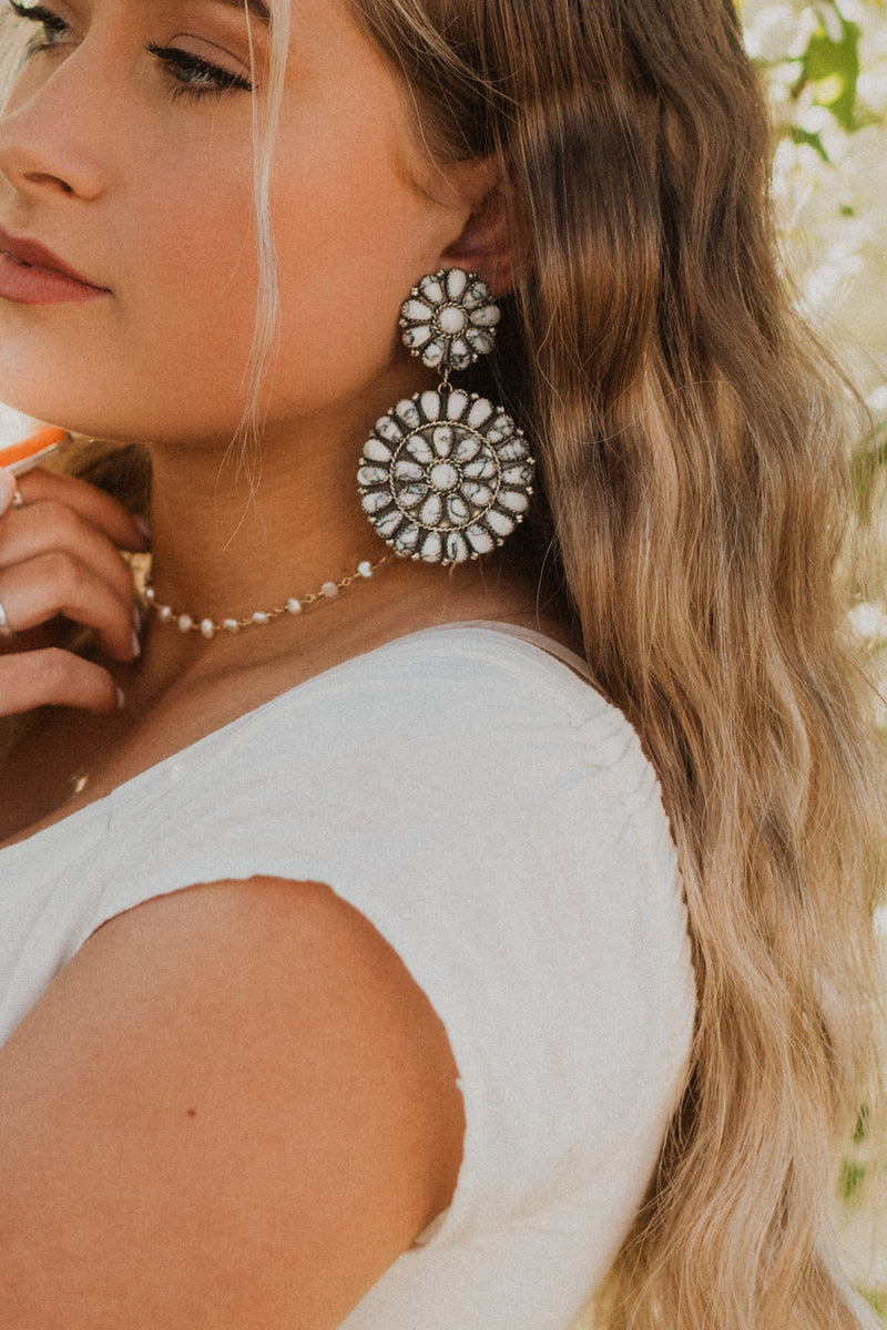 White Buffalo Turquoise Zuni Drop Earrings