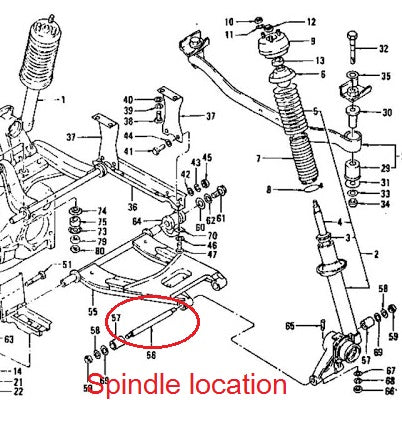 Spindle Pin Kit Rear Suspension 240Z 260Z 280Z