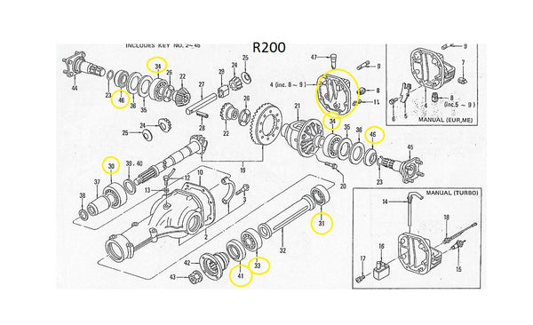 R200 Differential Rebuild Kit Seals Bearings OEM