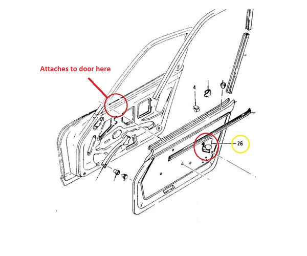 Window Glass Roller Bumper Guide  240Z 260Z 280Z