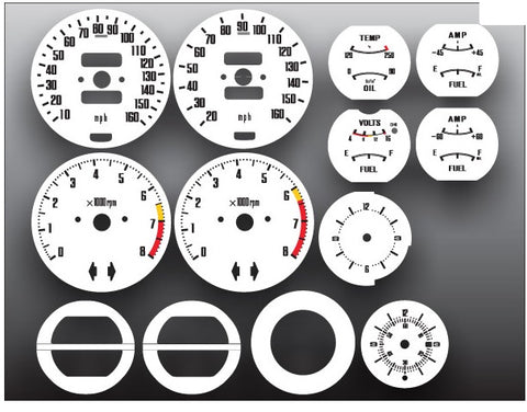 Speedometer Tach Gauge Face Restoration White Black 240Z 260Z 280Z