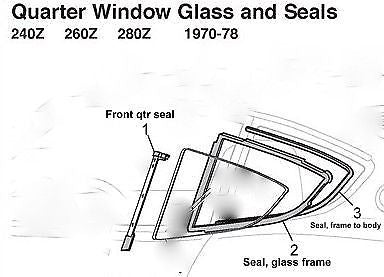 Quarter Window Glass Seal Rubber  240Z 260Z 280Z