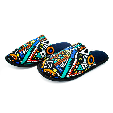 Blue Tribal - Bedroom Slippers