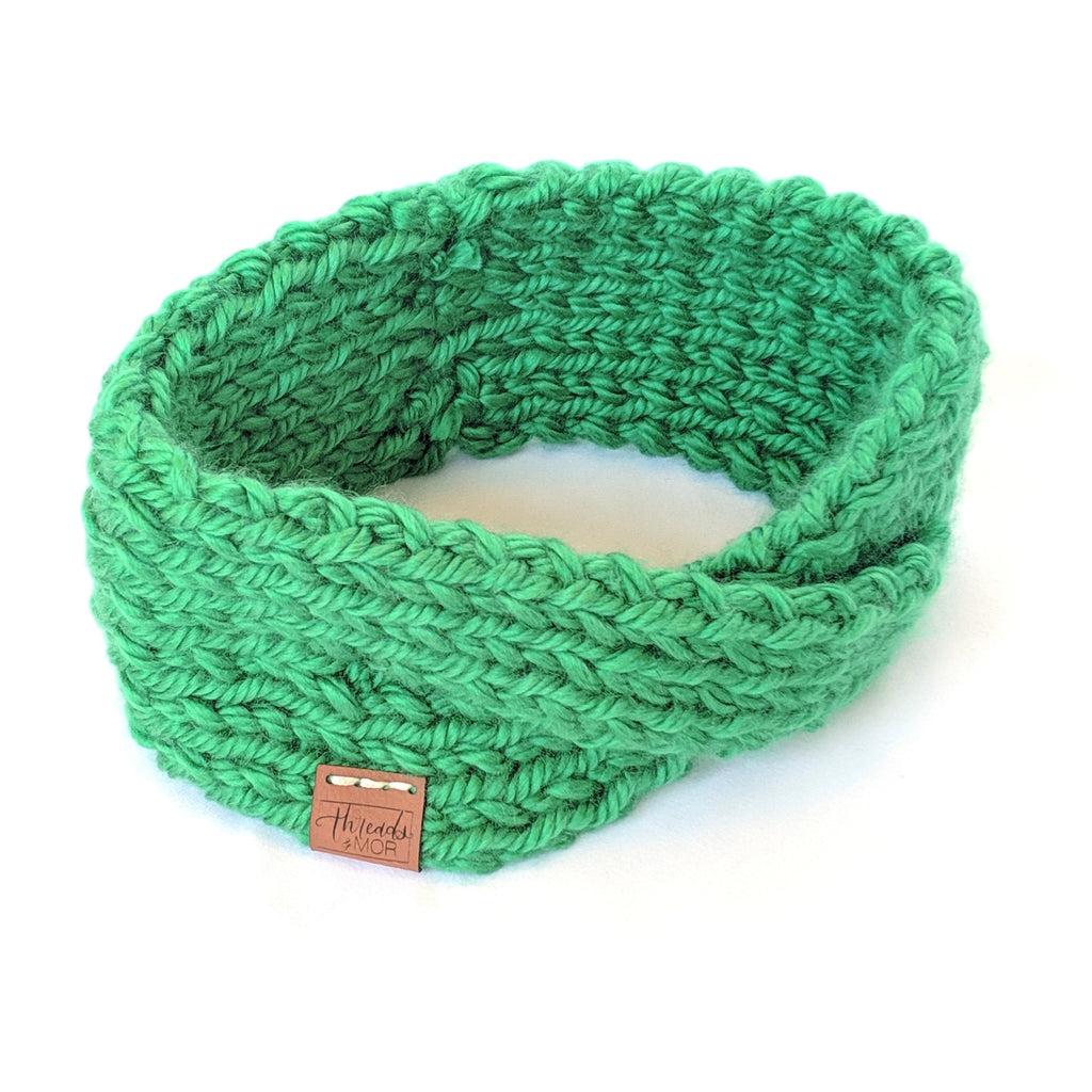 Kelly Green twist knit headband and ear warmer