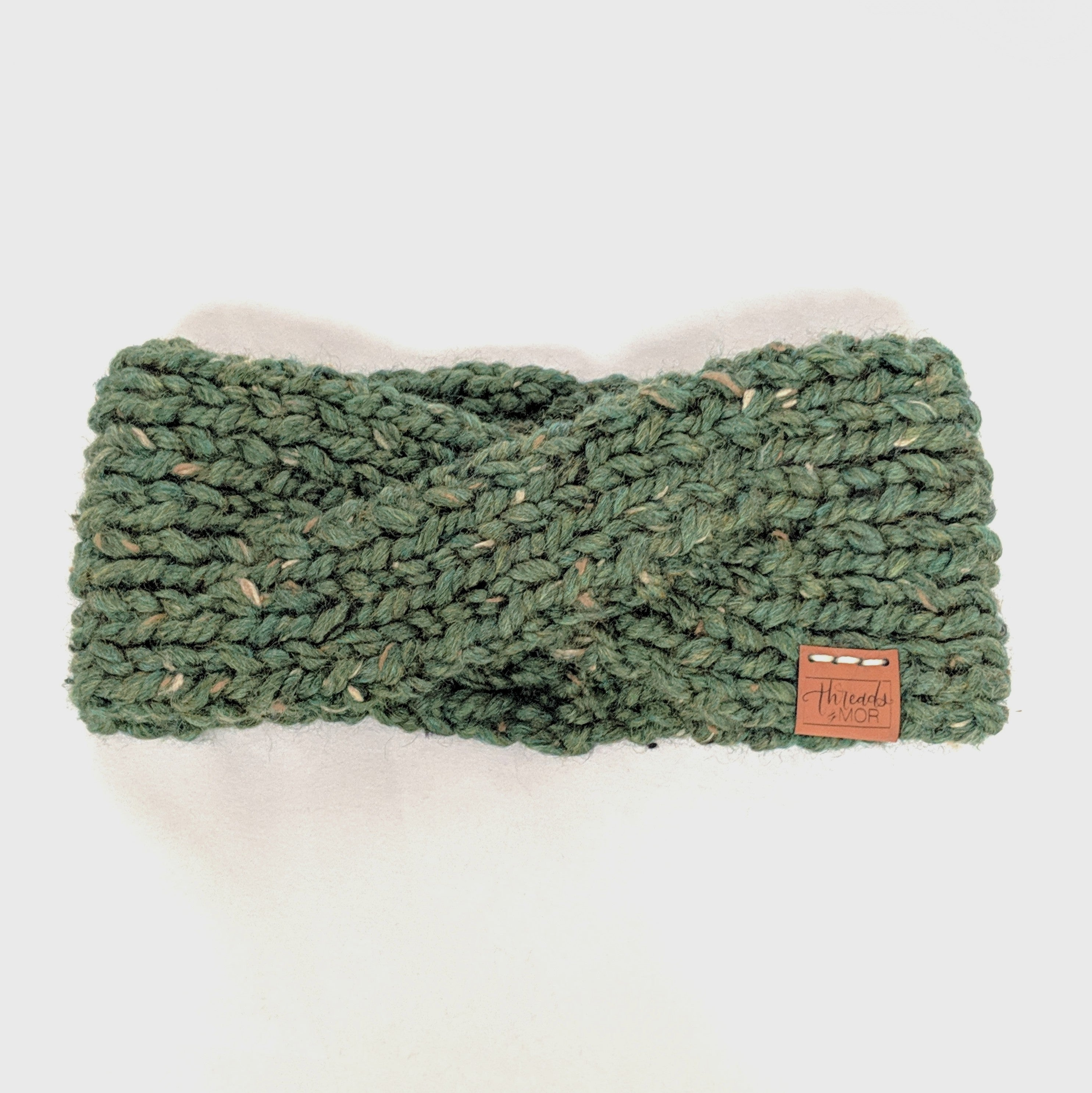 Kale twist knit headband and ear warmer