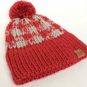 Double brim scarlet and gray plaid knitted hat with yarn pompom