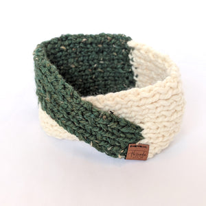 Kale and Cream twist knit headband and ear warmer