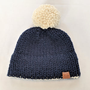 06c70297466 Navy and cream double brim knitted hat with yarn pompom – Threads   MOR