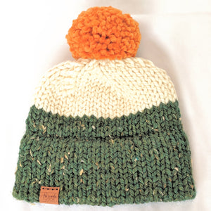 Ireland double brim knitted hat with yarn pompom