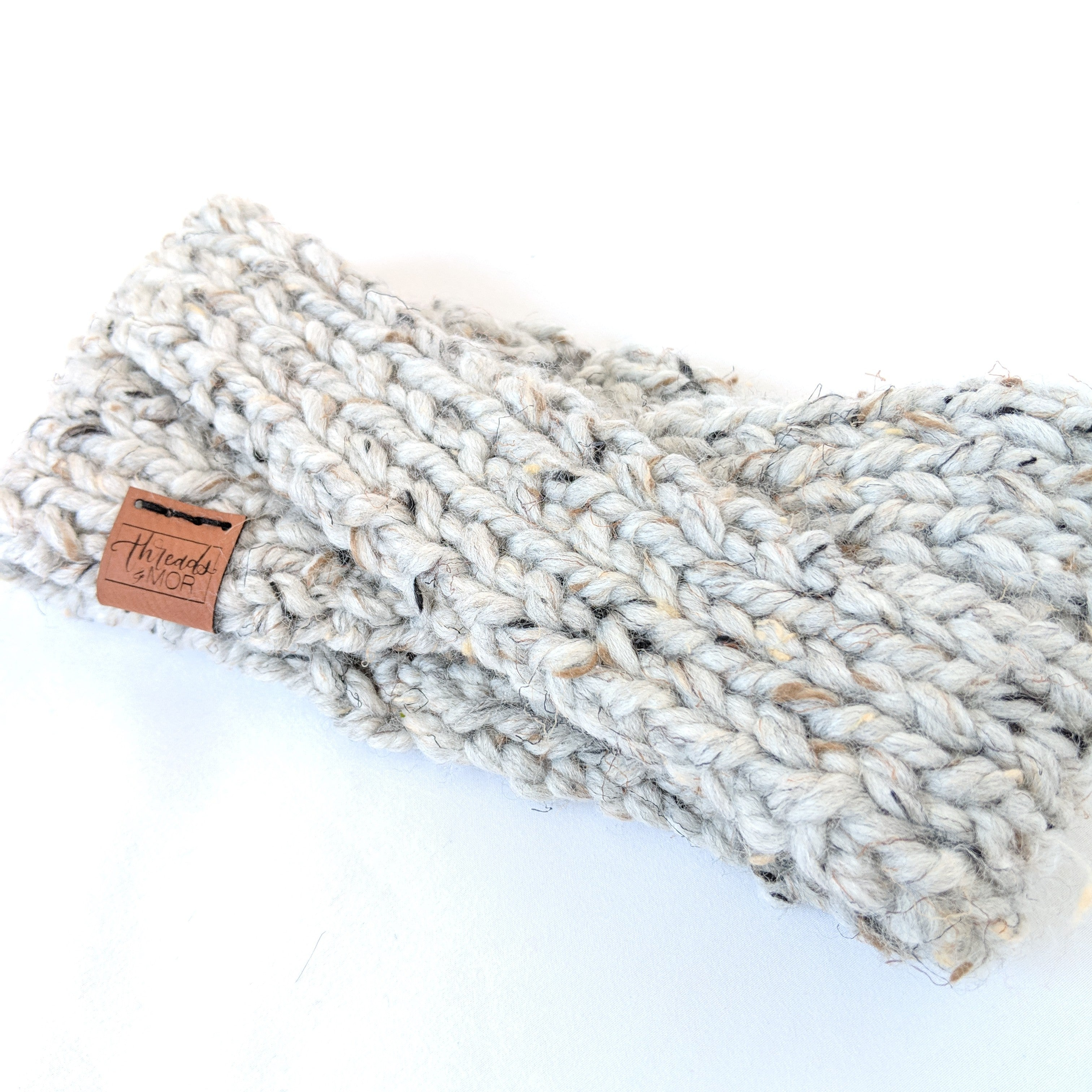 Gray marble twist knit headband and ear warmer