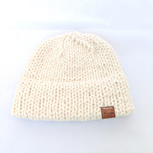 Cream double brim knit hat