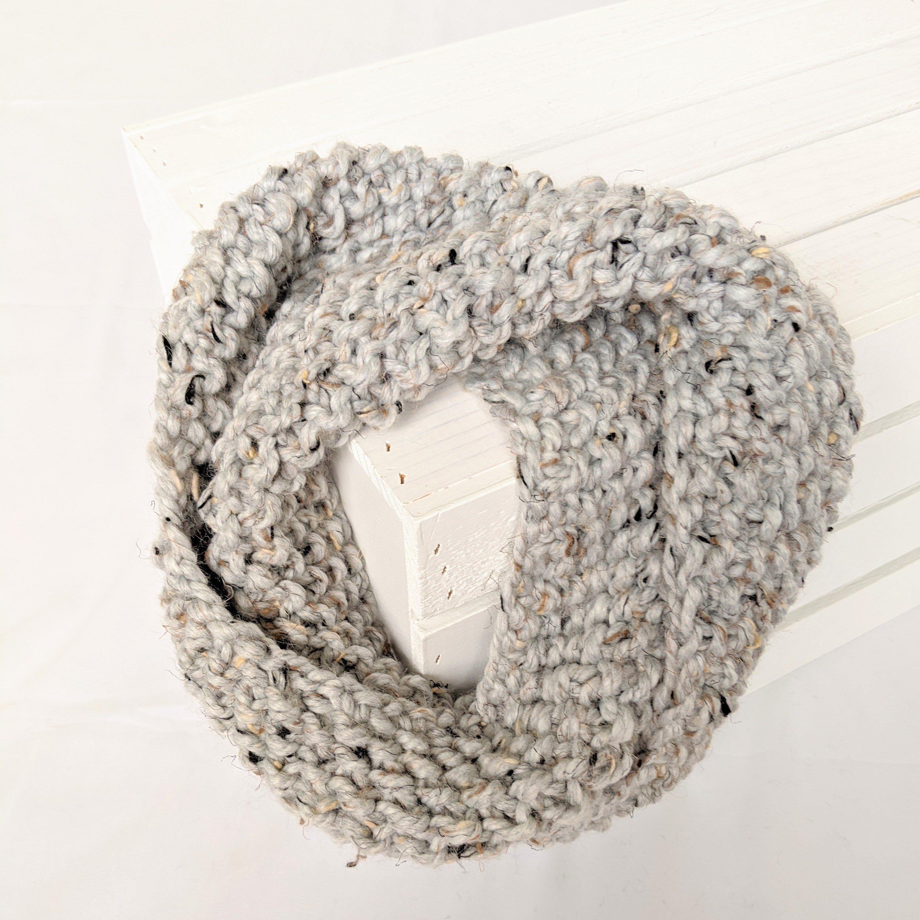 Gray marbled cowl scarf