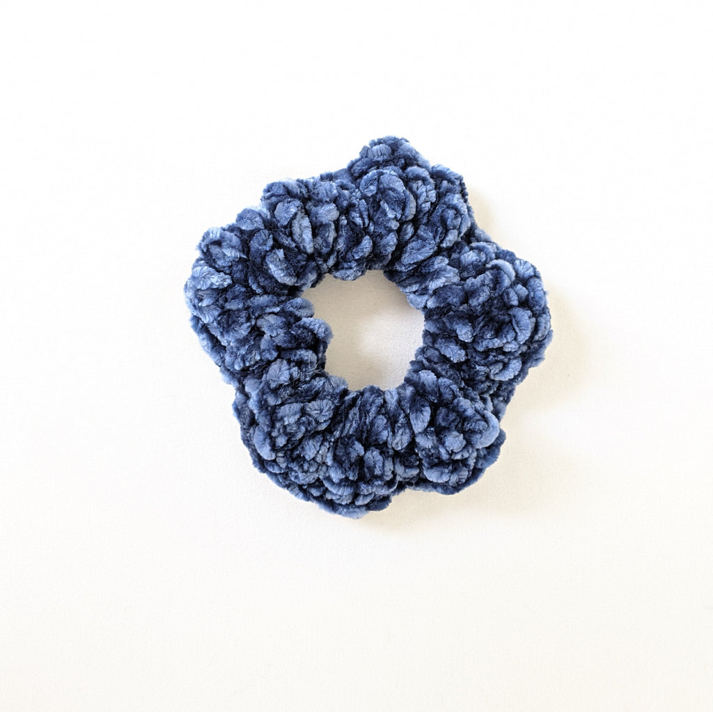 Blue Velvet Crochet Scrunchie