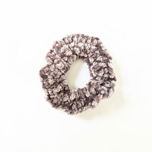 Gray Velvet Crochet Scrunchie