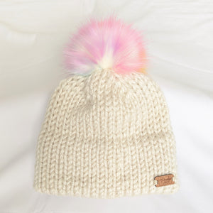 YOUTH Double brim knit hat with Unicorn Faux Fur pompom