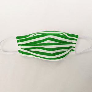 Green and White Stripe Face Mask