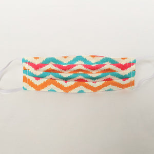 Teal, Orange and Pink Chevron Face Mask