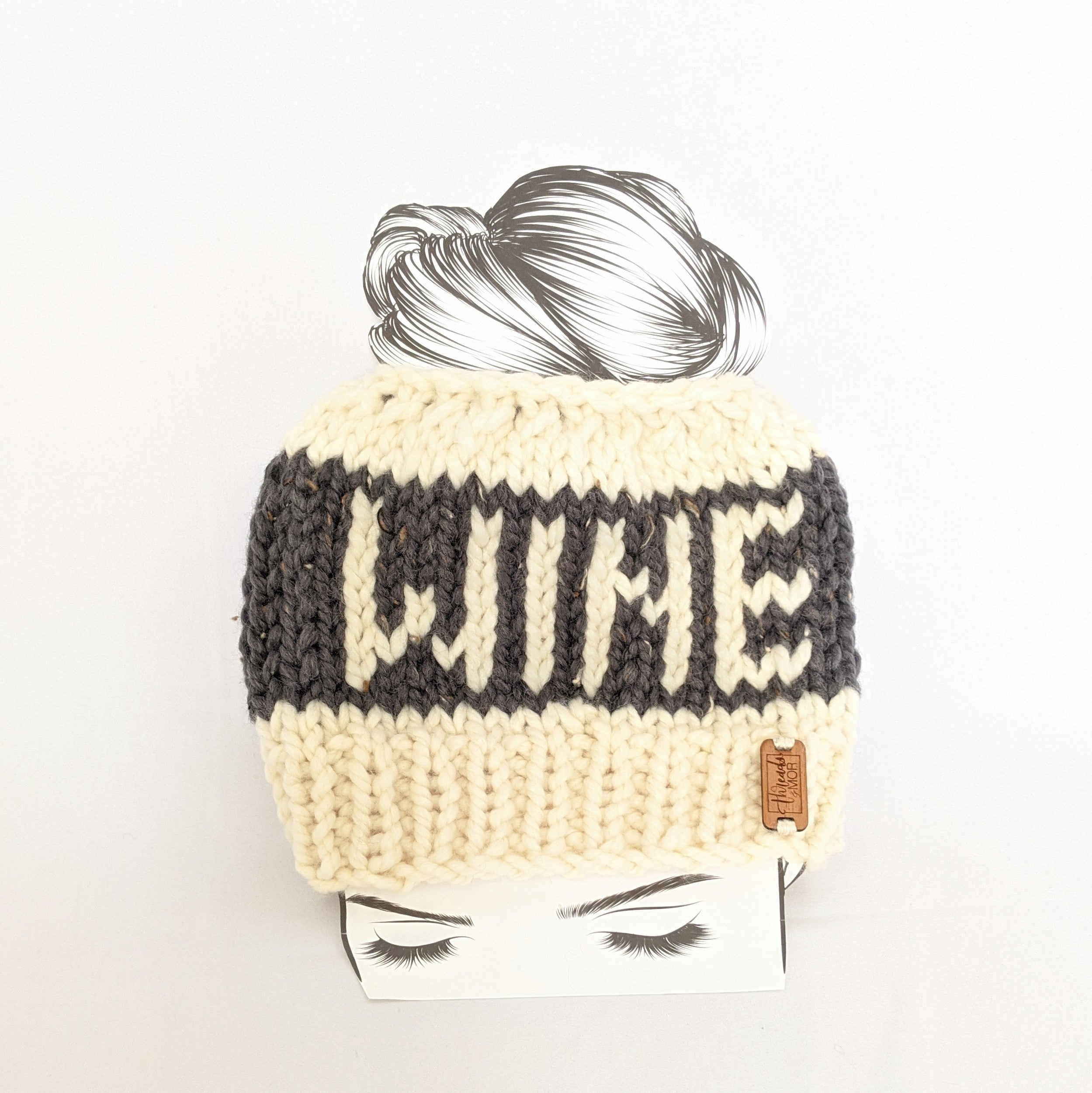 Graphite WINE Knit Bun Hat