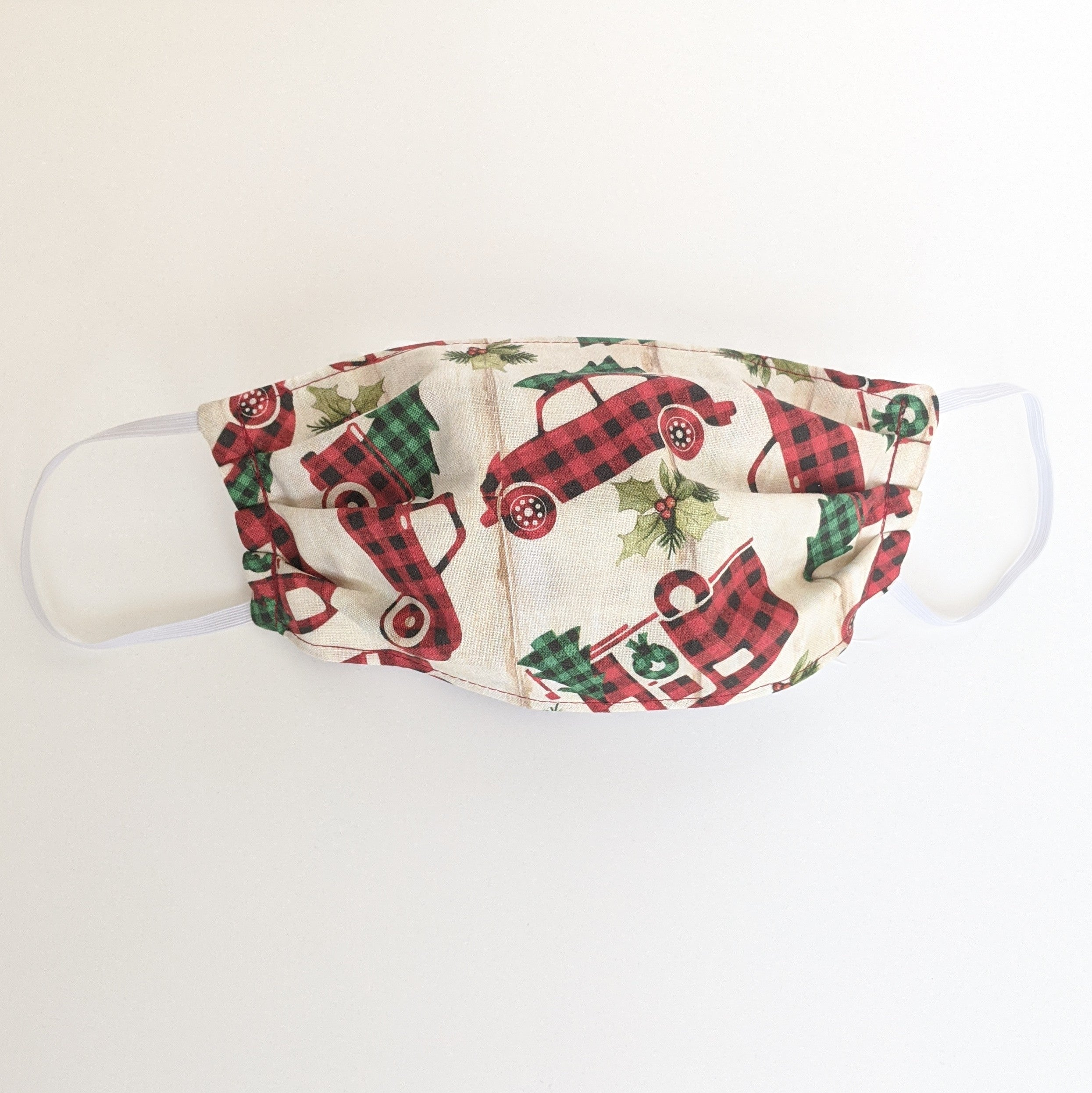 Christmas Cars in Plaid Face Mask