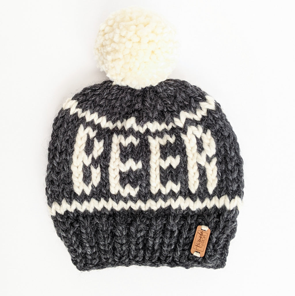 Gray Striped Beer Knit Beanie Hat