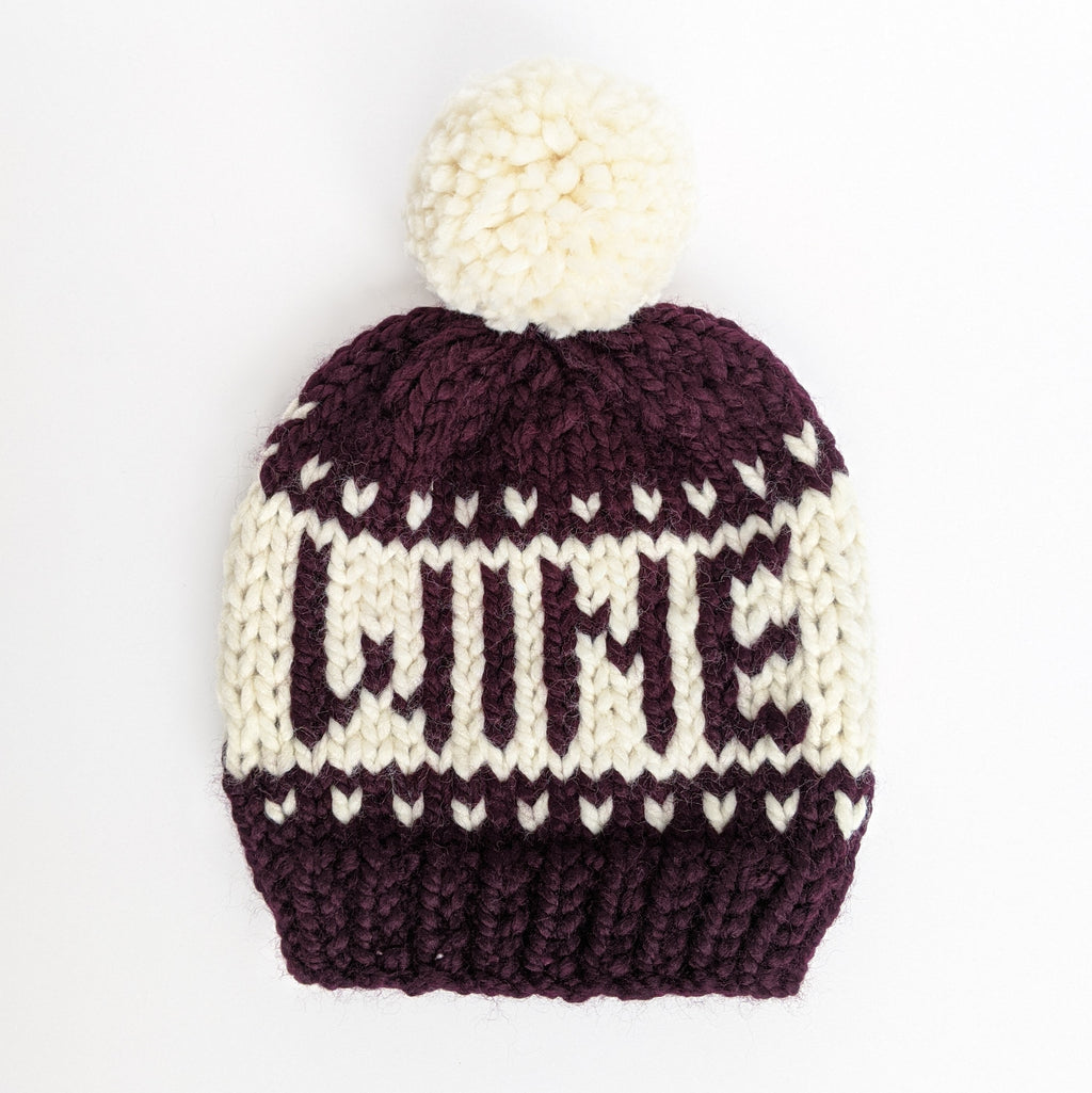 Eggplant WINE Knit Beanie Hat