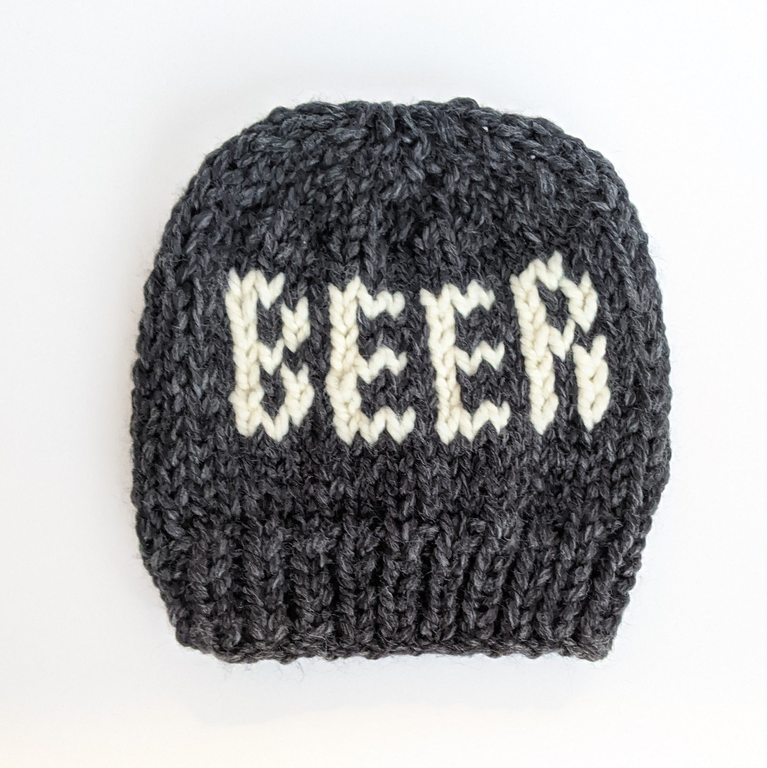 Gray Beer Knit Slouchy Hat