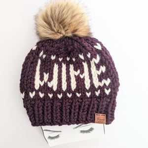 Eggplant WINE Knit Beanie Hat with Faux Fur Pom