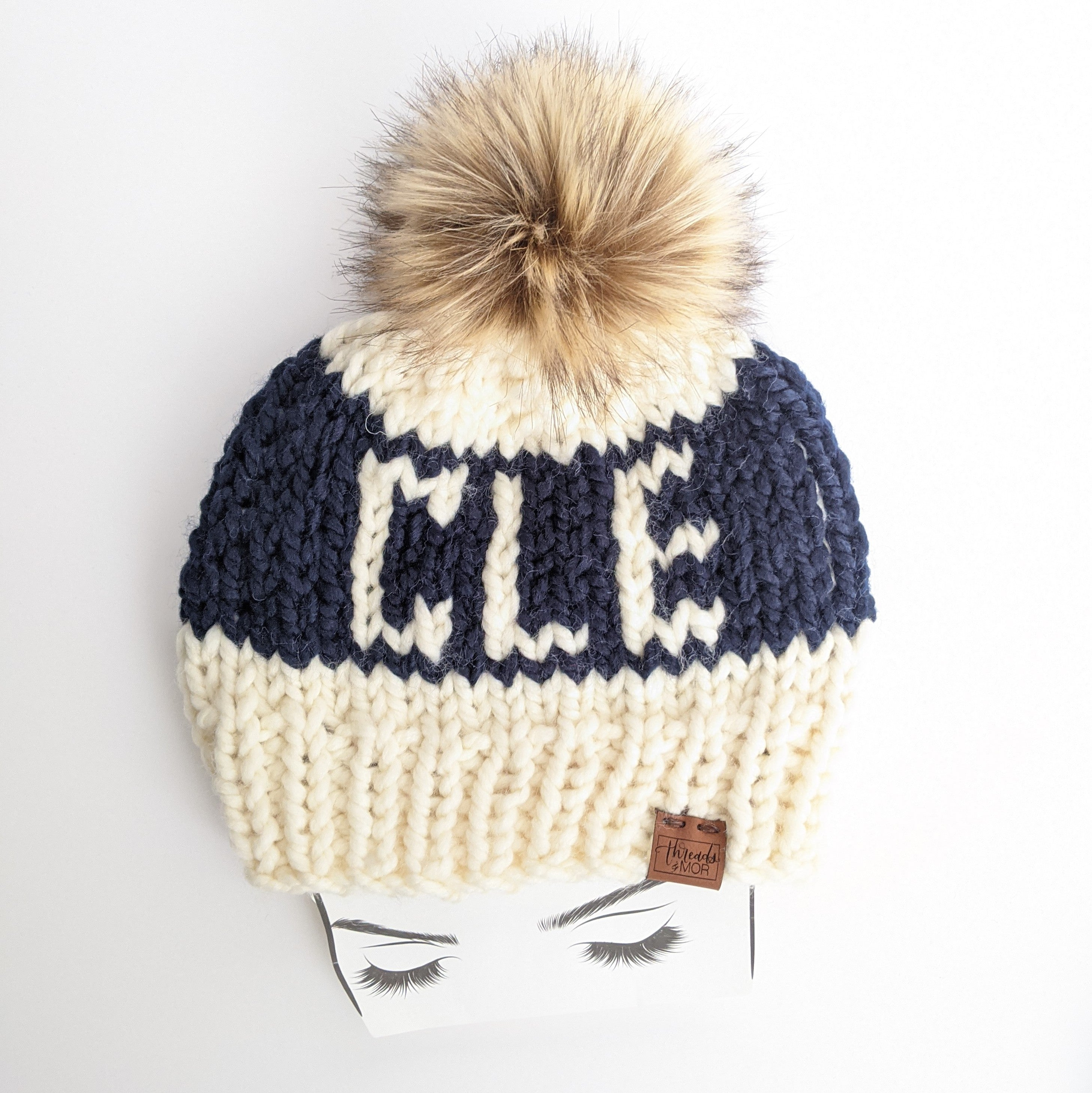 CLE Knit Beanie Hat with Faux Fur Pom