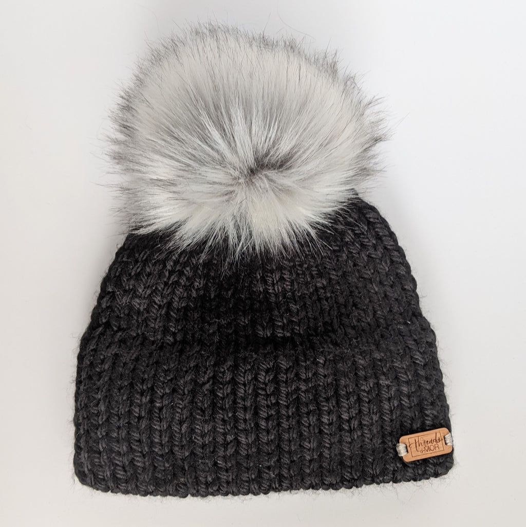 Youth Black double brim knit hat with silver fox faux fur pompom