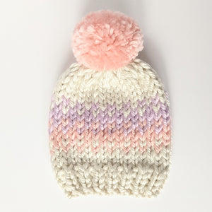 Cotton candy knit infant hat