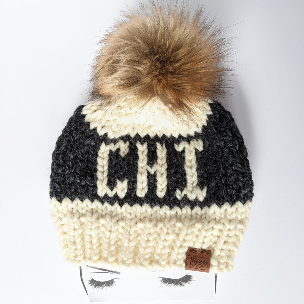 CHI Knit Beanie Hat with Faux Fur Pom