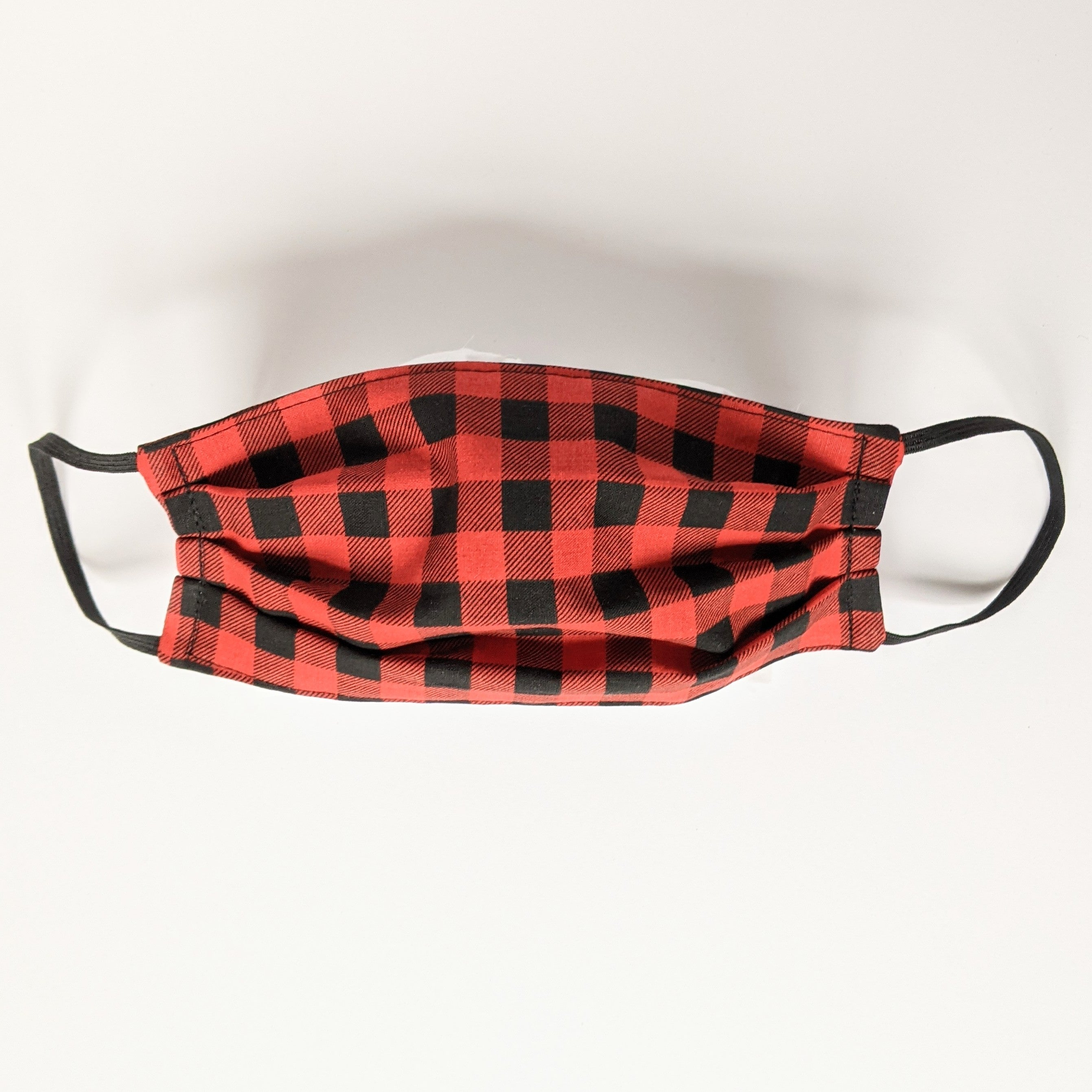 Black and Red Buffalo Check Face Mask