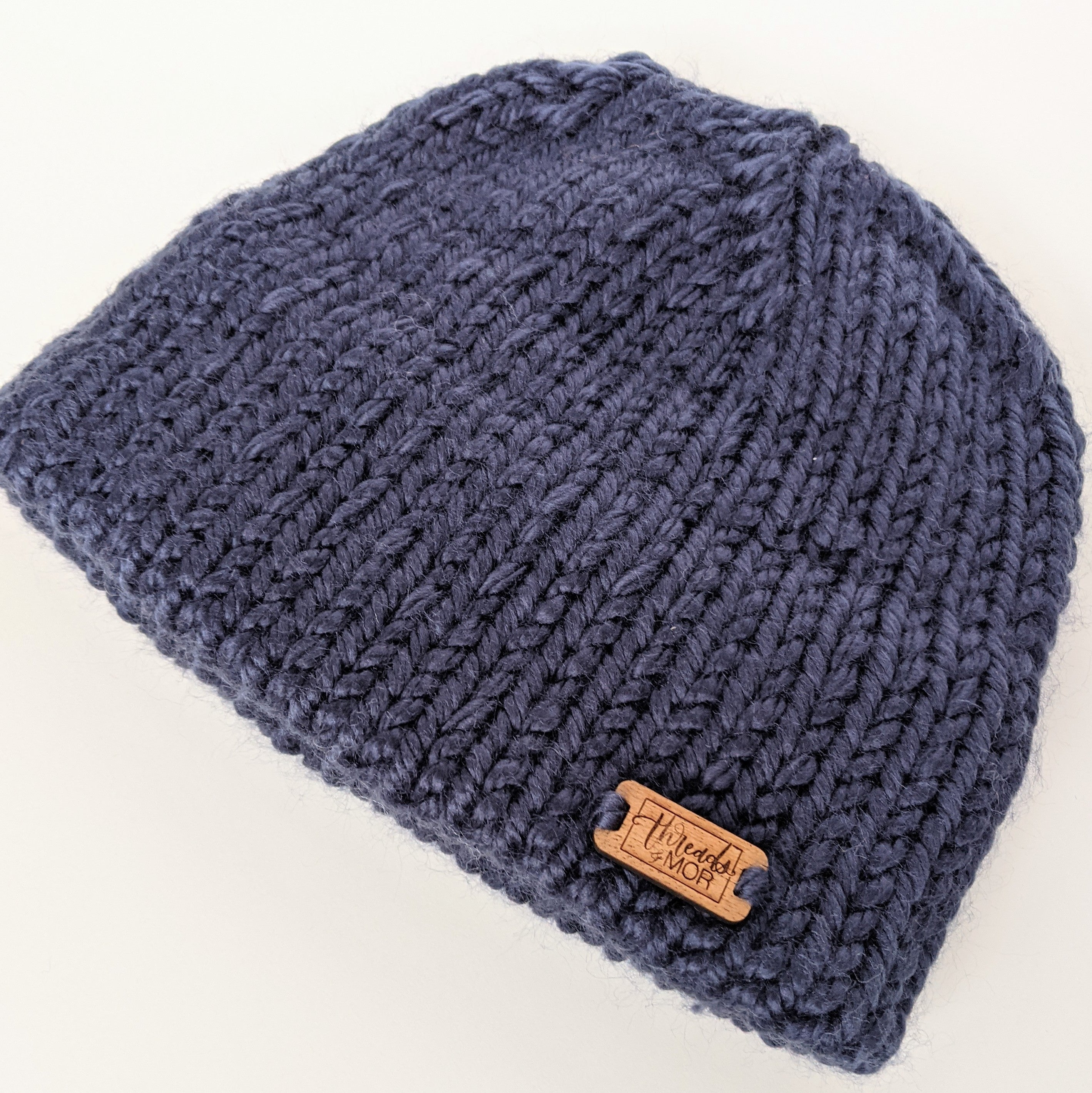 Navy double brim knit hat