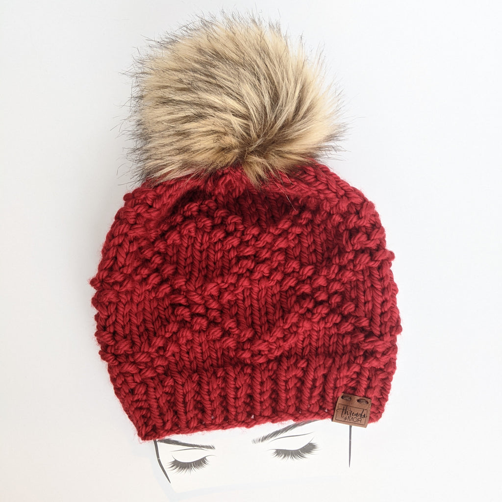 Etta Red Knit Beanie Hat