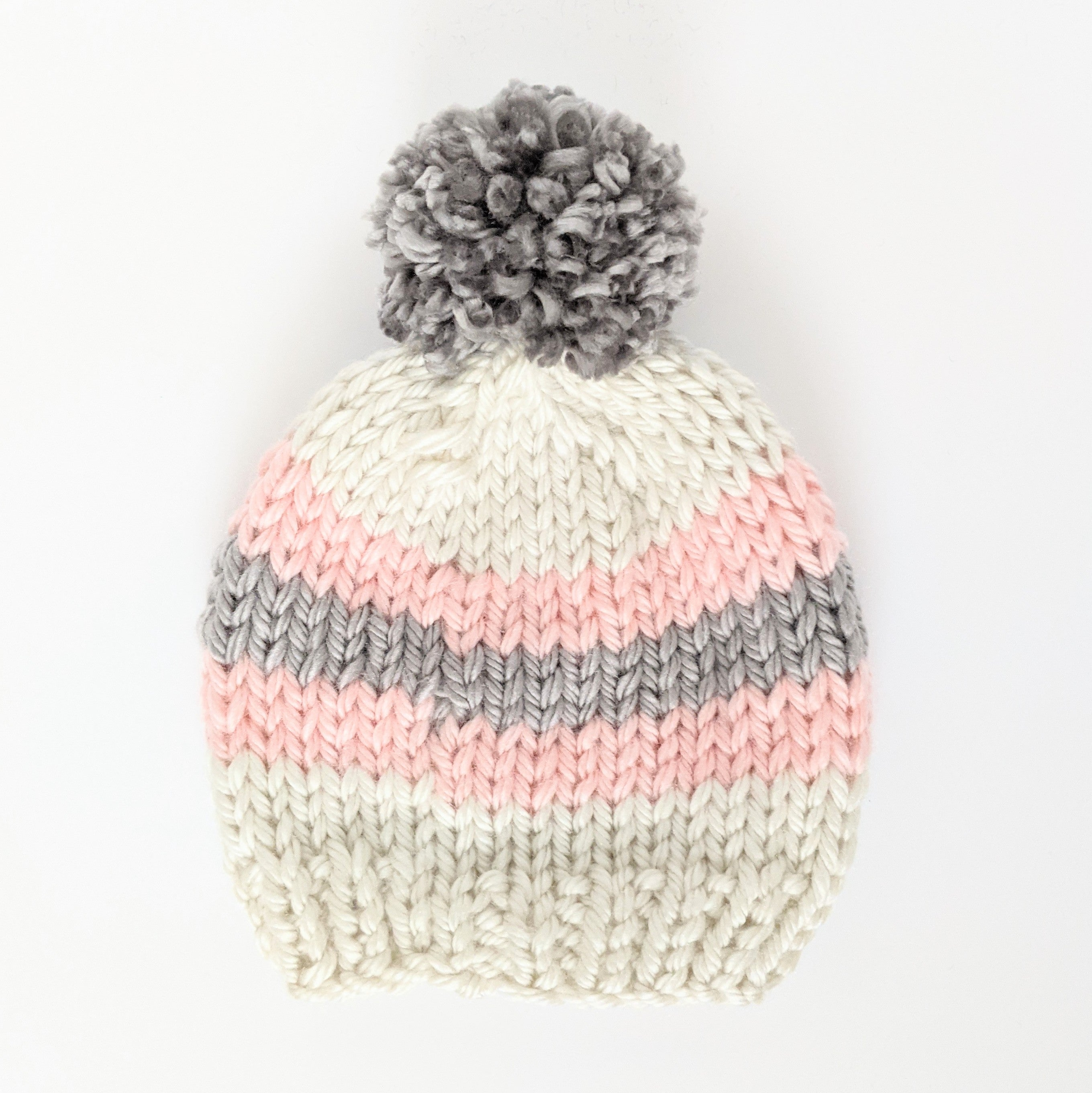 Toddler Pink and Gray Stripe Knit Hat