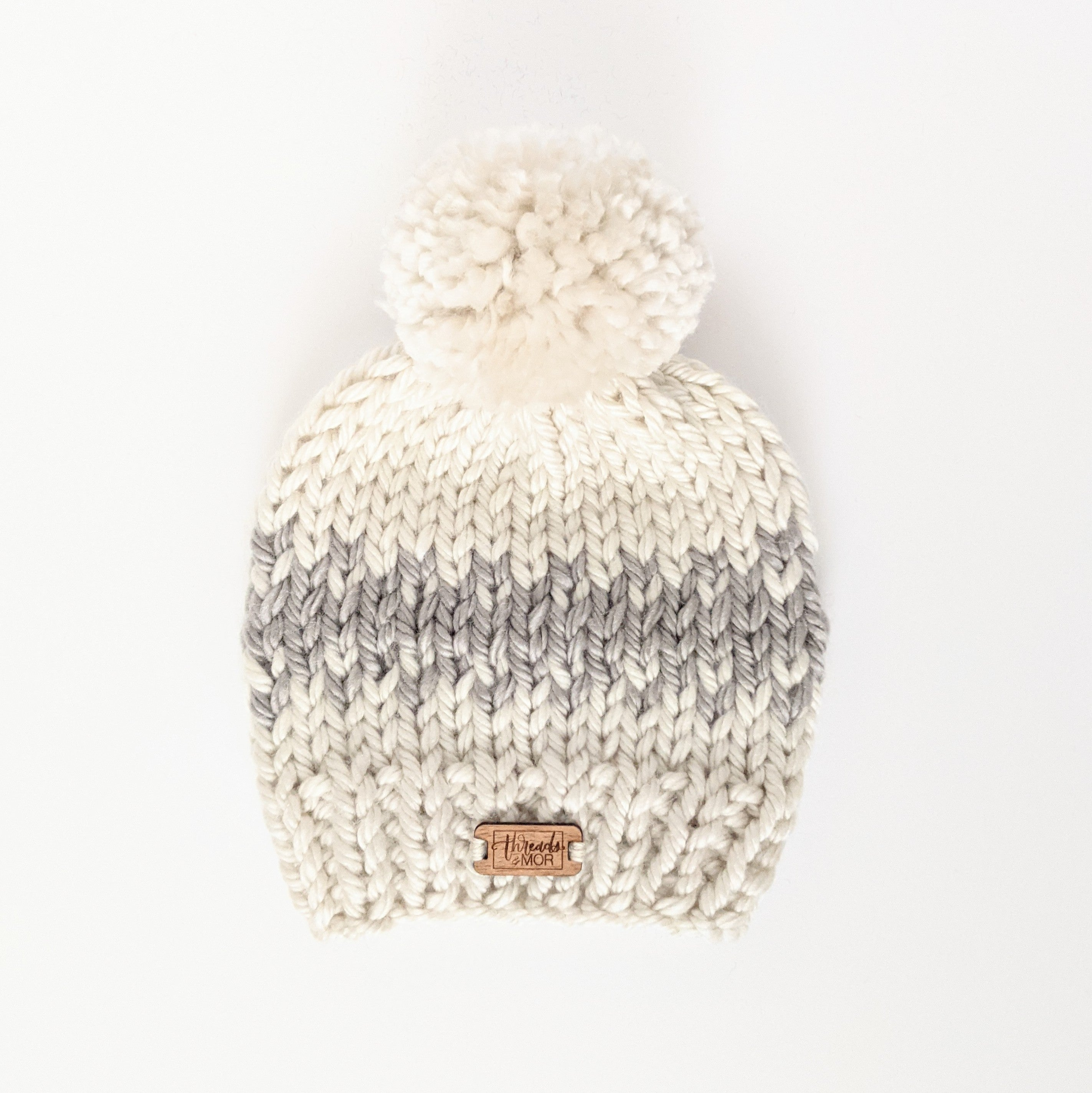 Infant Gray and Cream Knit Hat