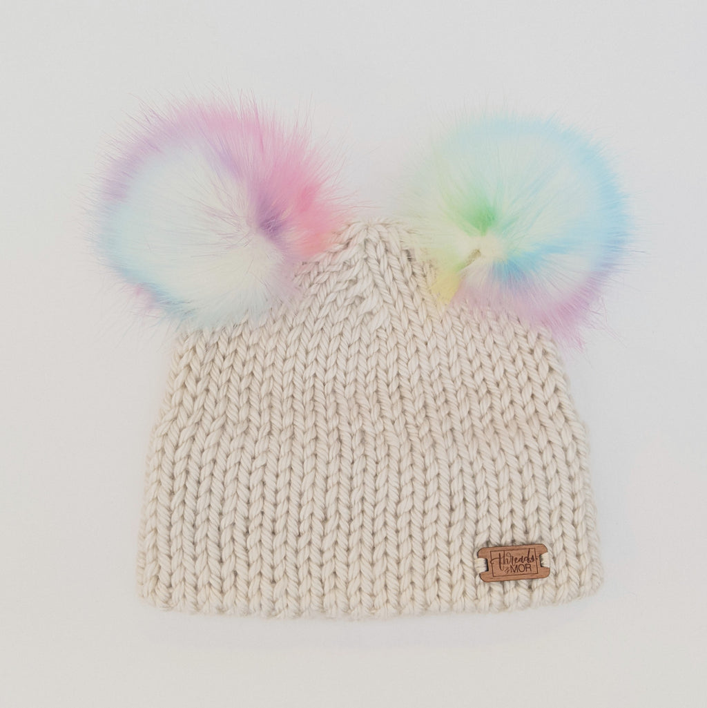 Youth double brim knit hat with two Unicorn Faux Fur pompom