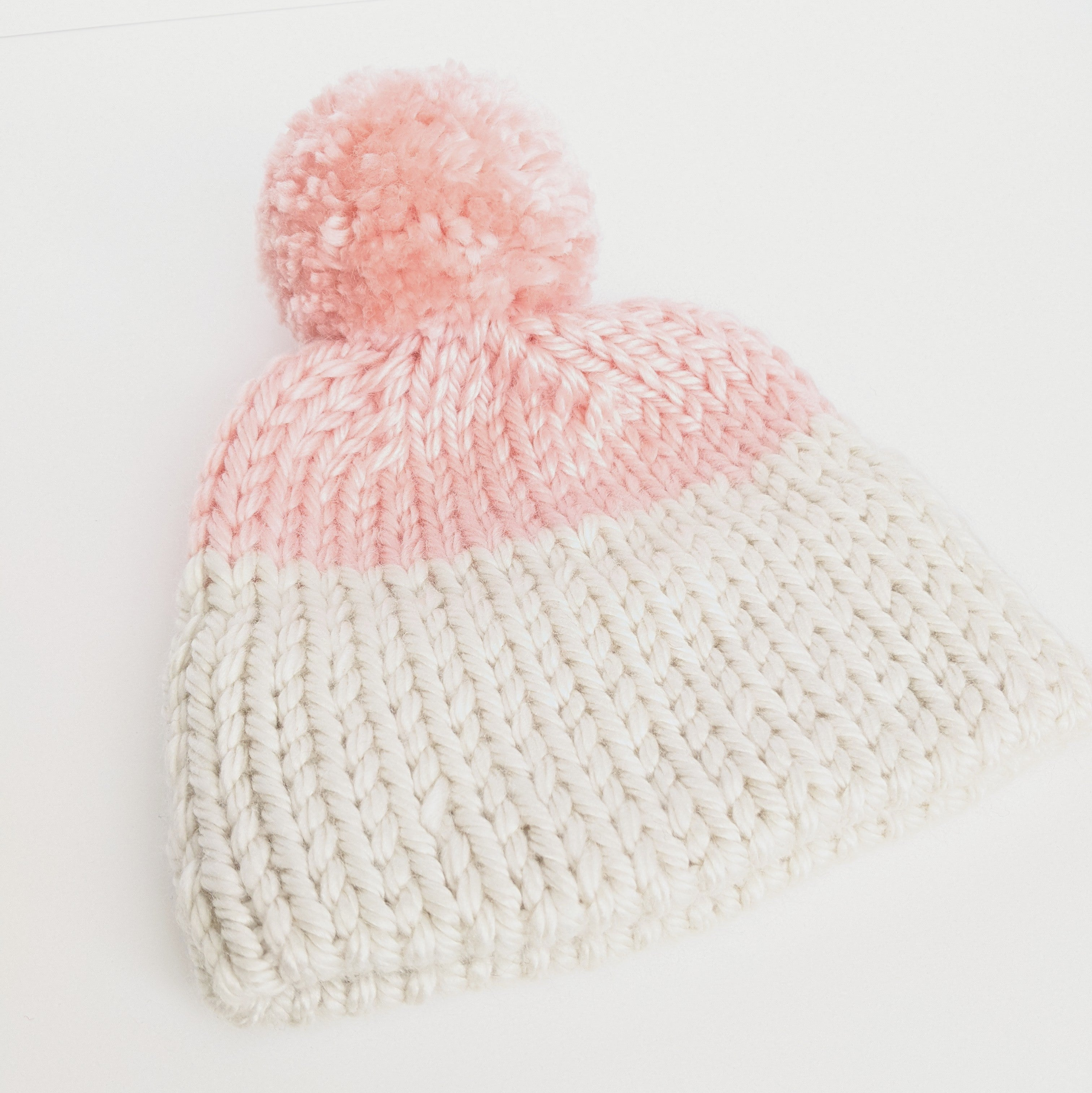 Pink and Cream Toddler double brim knit hat