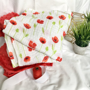 Red Poppy Muslin Blanket