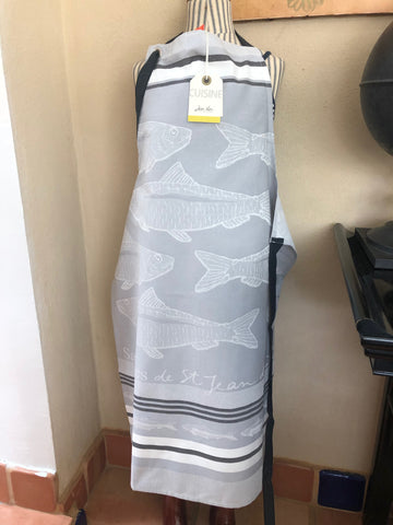 "Apron in French Jacquard by Jean-Vier, ""Sardines Gris"""