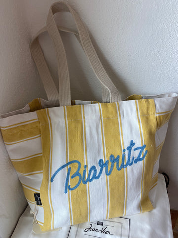 "Beach bag, embroidered ""Biarritz"" by Jean-Vier ""Sac de Plage"""