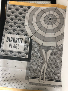 "French Jacquard tea towel by Jean-Vier, ""Biarritz Plage"""