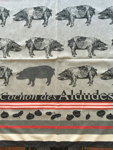 "French Jacquard tea towel by Jean-Vier, ""Cochons des Aldudes"" large"