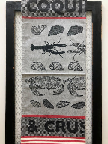 "French Jacquard tea towel by Jean-Vier, ""Coquillages et Crustacés"" large"